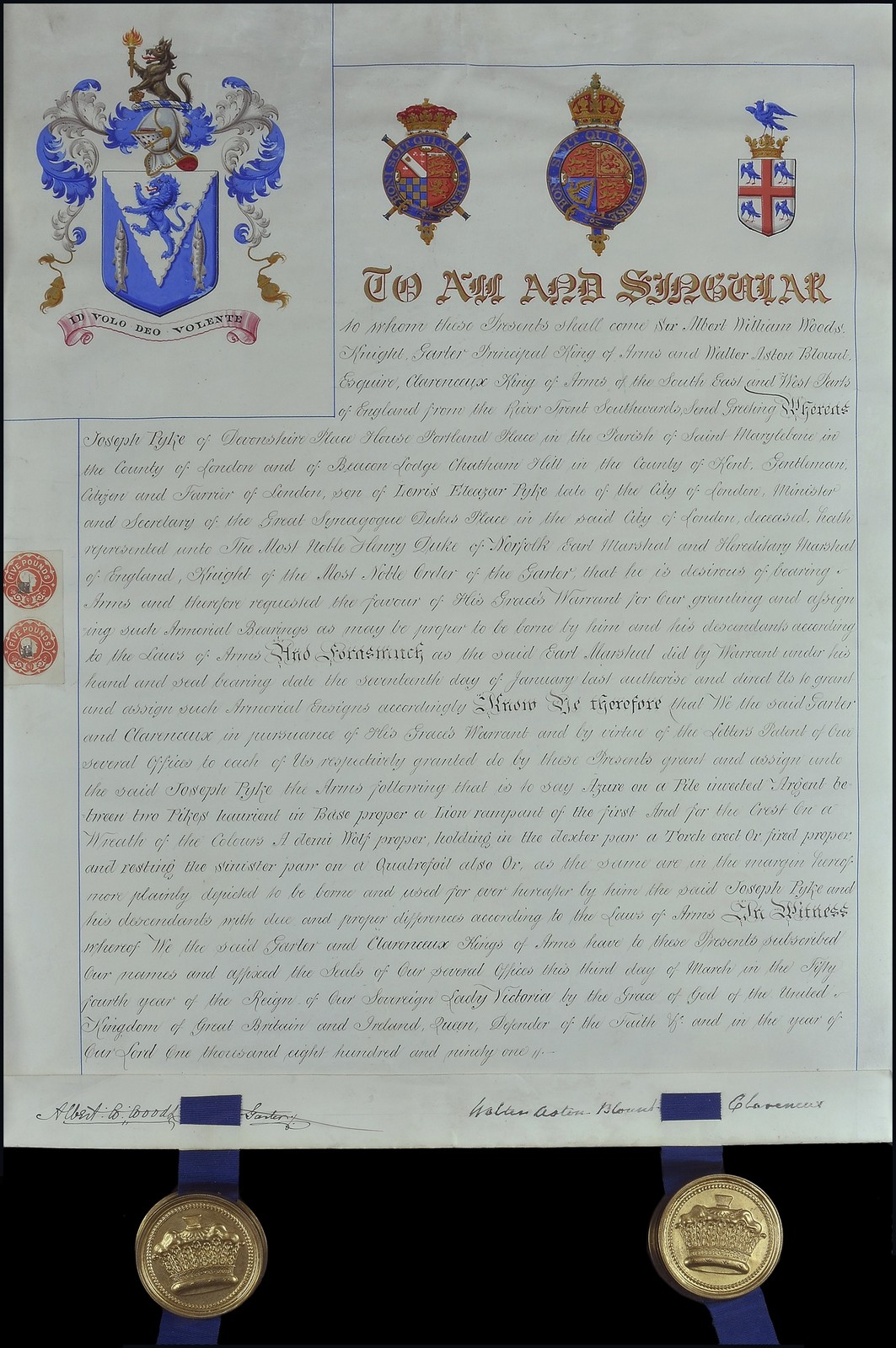 Grant of Arms, an original illuminated grant of arms on vellum to Joseph Pyke, of Devonshire Place