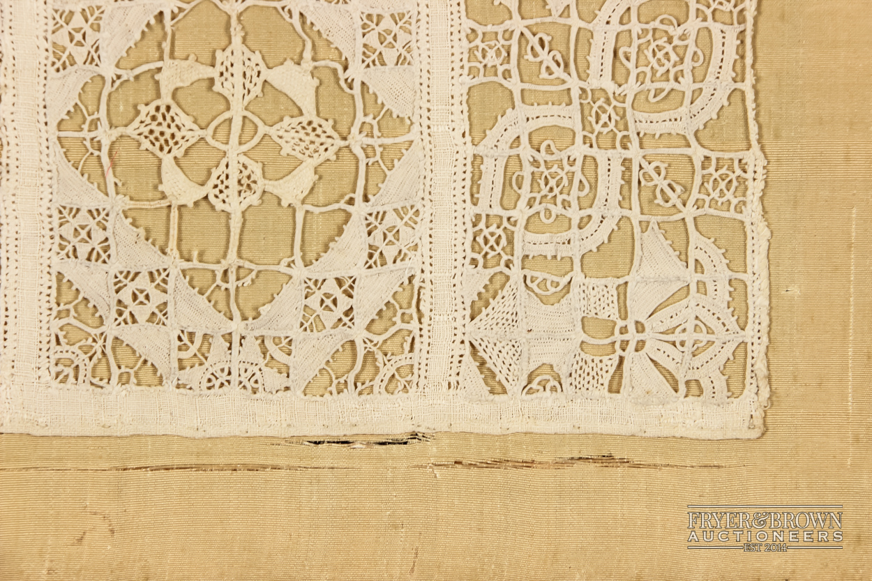 A rare reticella and hollie point needlelace sampler, 16th/17th century worked with a male and - Image 4 of 7