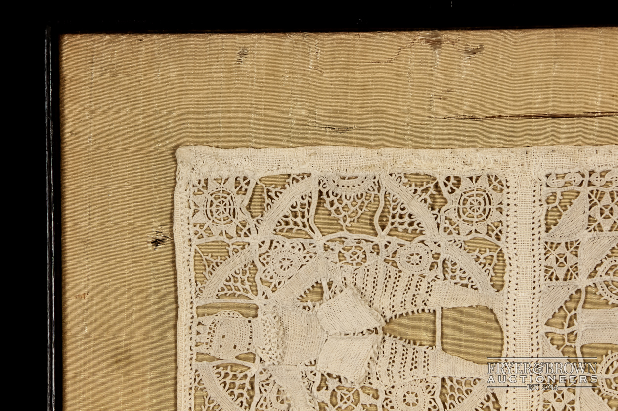 A rare reticella and hollie point needlelace sampler, 16th/17th century worked with a male and - Image 7 of 7