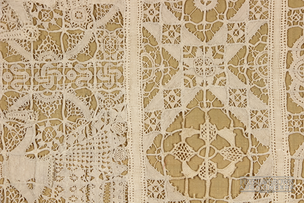 A rare reticella and hollie point needlelace sampler, 16th/17th century worked with a male and - Image 2 of 7