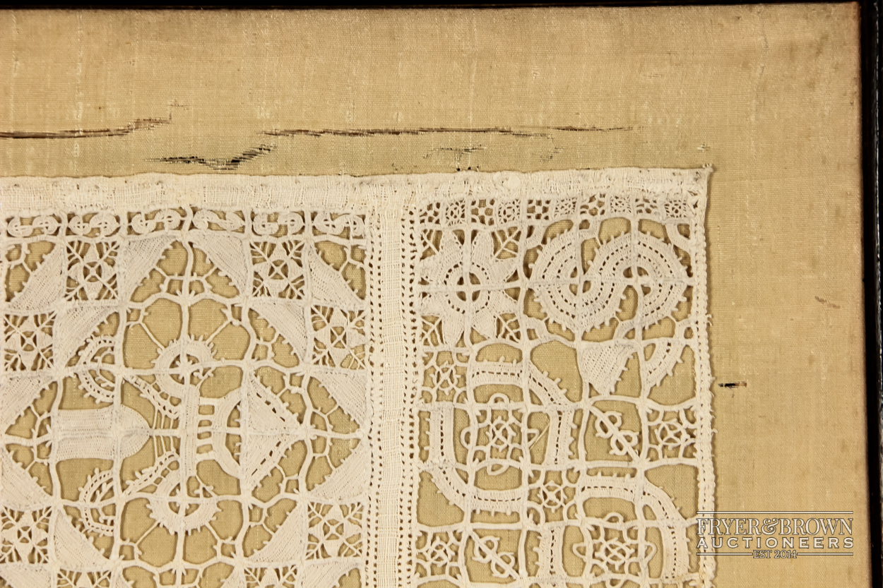 A rare reticella and hollie point needlelace sampler, 16th/17th century worked with a male and - Image 3 of 7