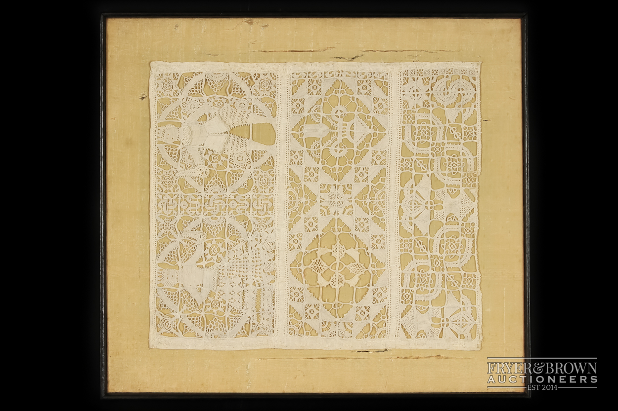 A rare reticella and hollie point needlelace sampler, 16th/17th century worked with a male and