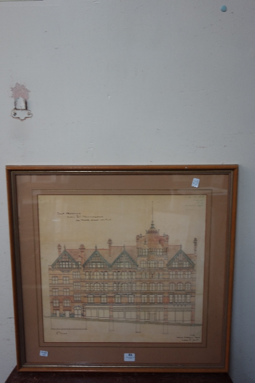 A print of an architect's drawing by Watson Fothergill of shop premises for Jessop & Son on King