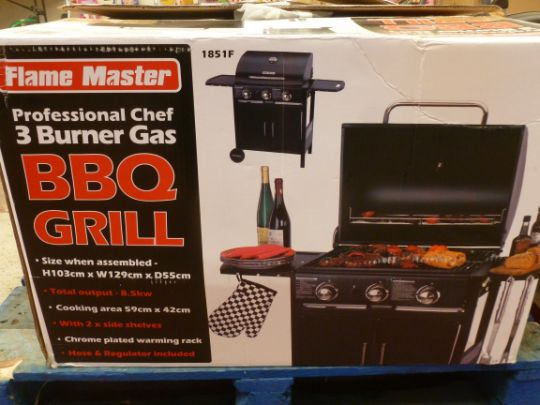 Flame Master Bbq.Flame Master Professional 3 Burner Gas Bbq Unchecked Amp Boxed