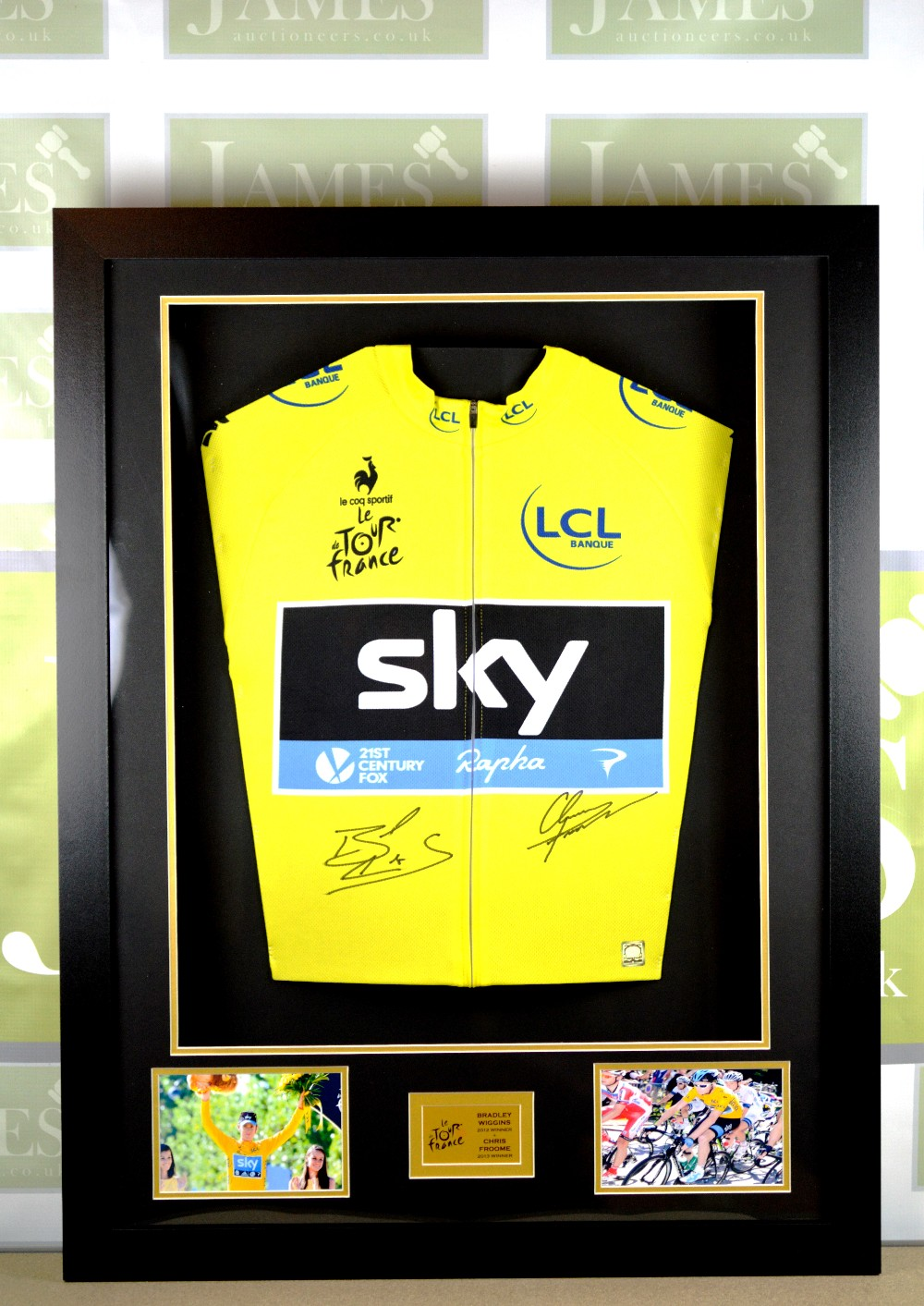 Lot 206 - Bradley Wiggins   Chris froome signed yellow jersey montage RRP  £999 cae478e78