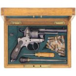 Lefaucheux-Revolver, Belgisch, Kal. 9mmStiftfeuer. Brünierter Lauf mit in Silber eingelegter