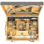 Richtkreisteilgerät zu 12cm Minenwerfer. Grüne Holzkiste 47x35cm, angeschrieben 12 CM.MW. #262