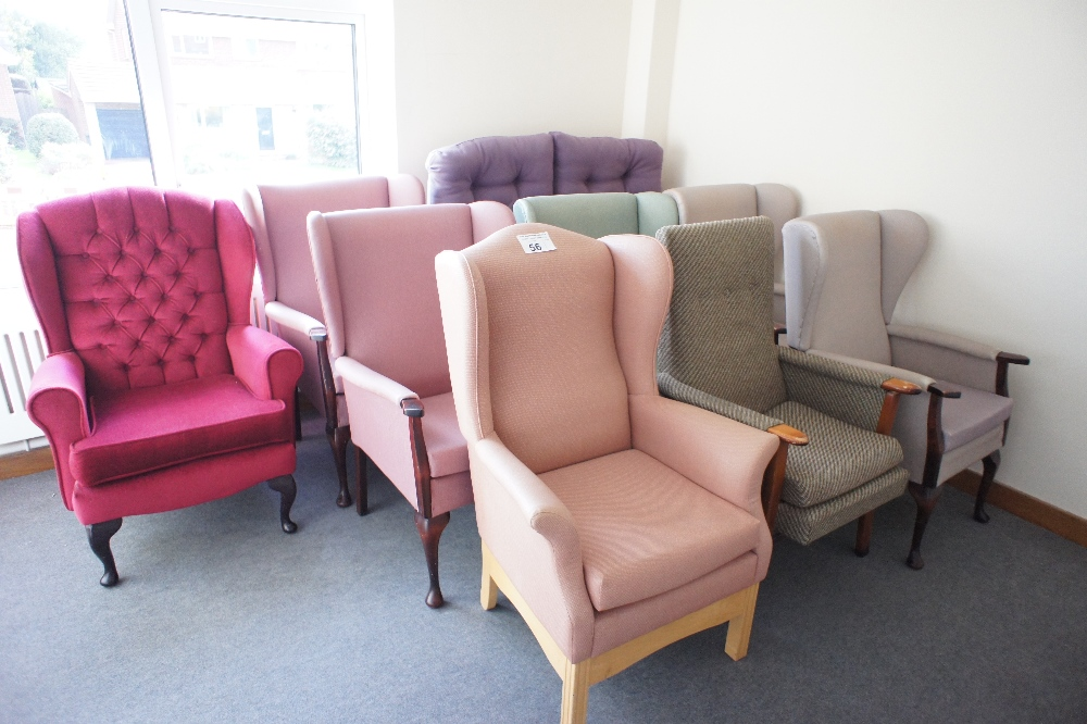 Lot 56 - 1 two seater settee and eight miscellaneous upholstered armchairs (located in room 23, Davey Court)