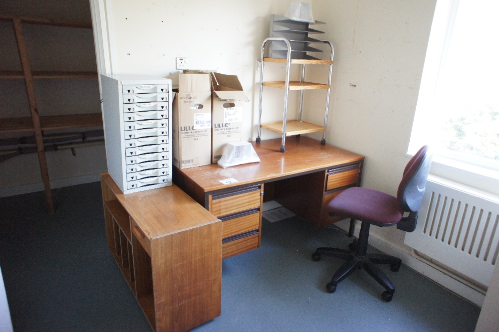 Lot 12 - 1 metal four drawer filing cabinet, a wooden office desk and a quantity of miscellaneous office