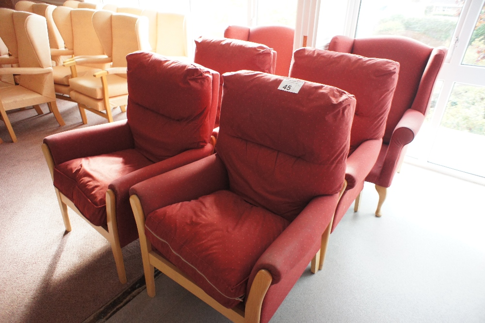 Lot 45 - 6 various red easy clean upholstered armchairs (located in room 18, Davey Court)