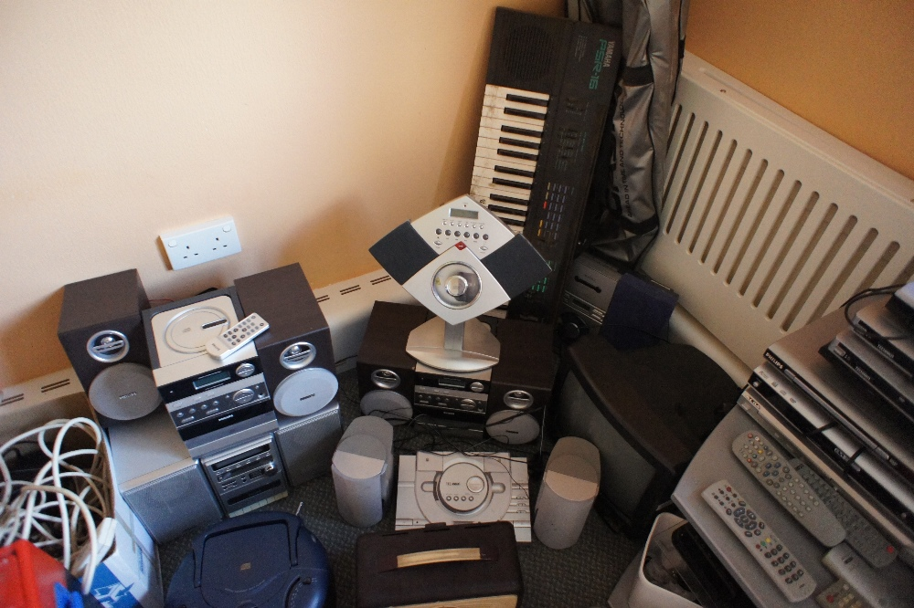 Lot 16 - a quantity of miscellaneous electronic and audio equipment including; radios, CD players, video