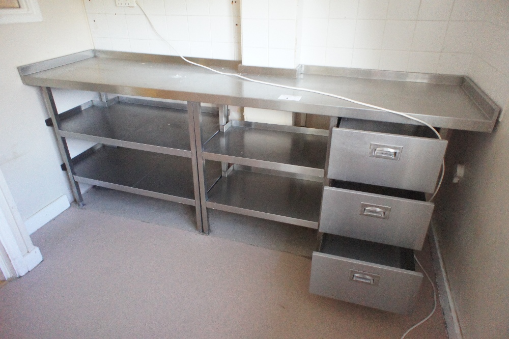 Lot 1 - 1 rectangular topped stainless steel side table with drawers and shelves under and one stainless