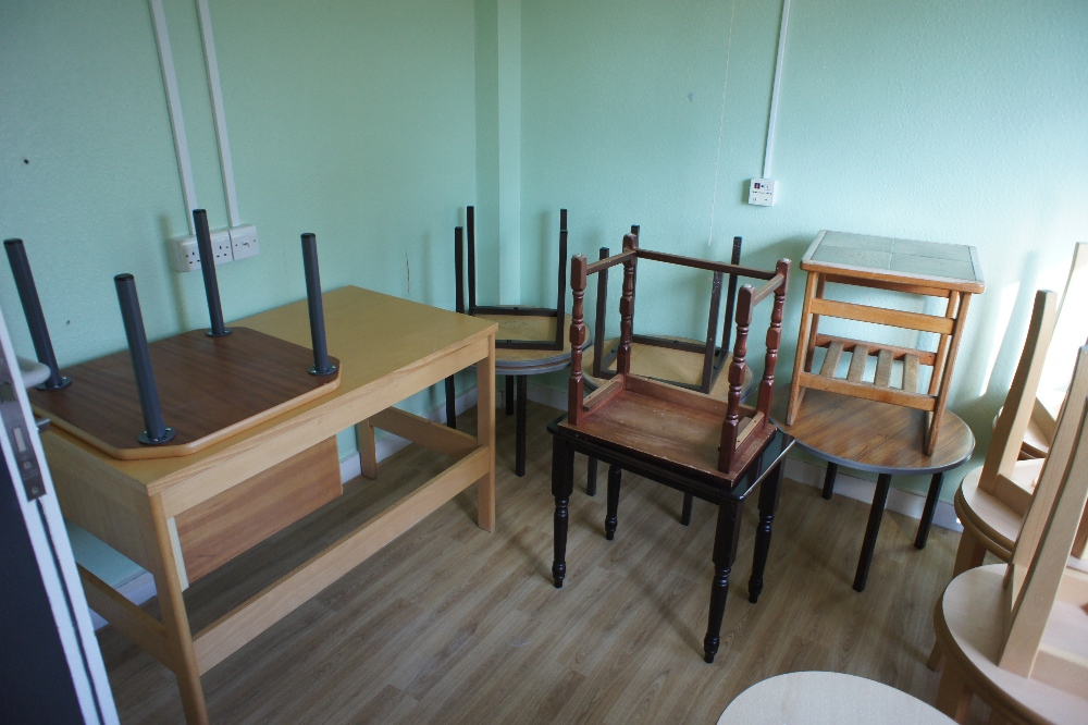 Lot 27 - a quantity of miscellaneous small coffee tables and footstools etc. (located in room 13, Davey