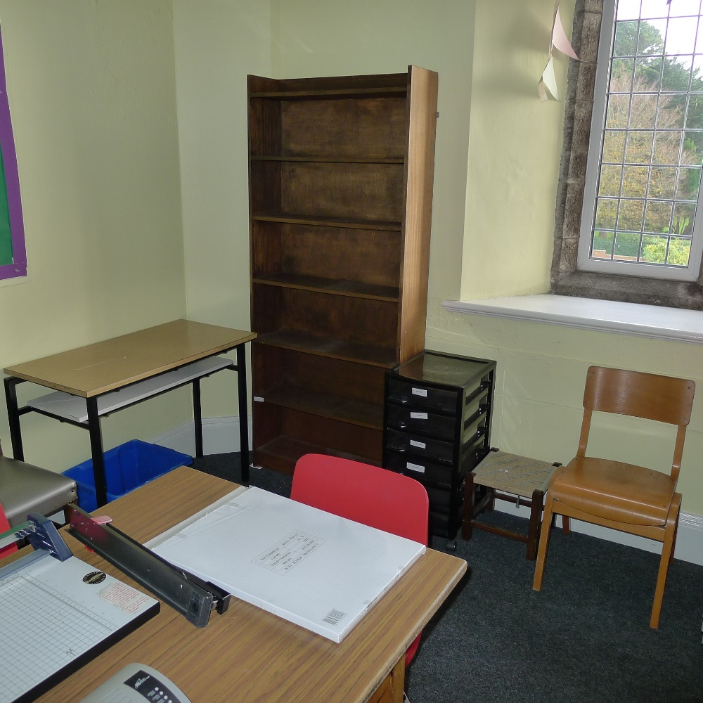 Lot 15 - a qty. of misc. school furniture and equipment including; tables, chairs, guillotine and