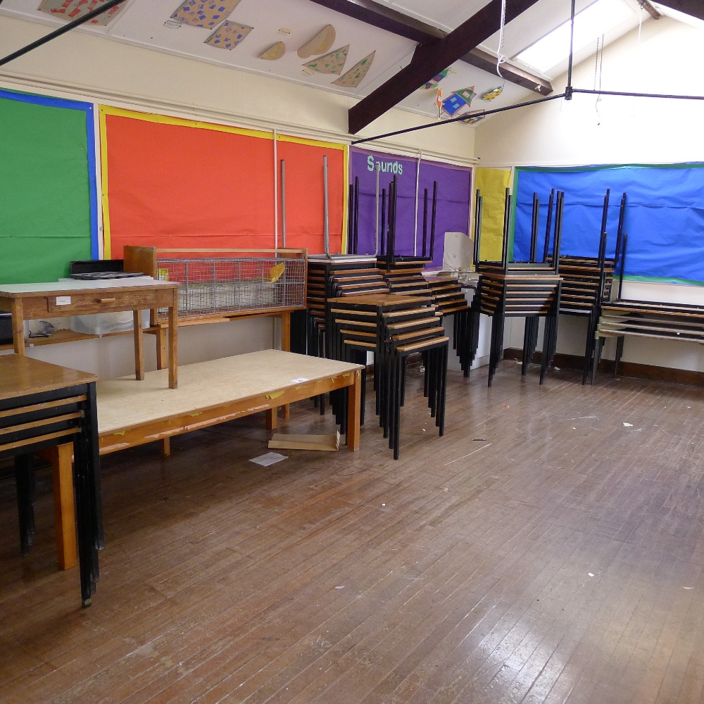 Lot 40 - a qty. of misc. stacking school tables and other tables etc. (located in nursery area)
