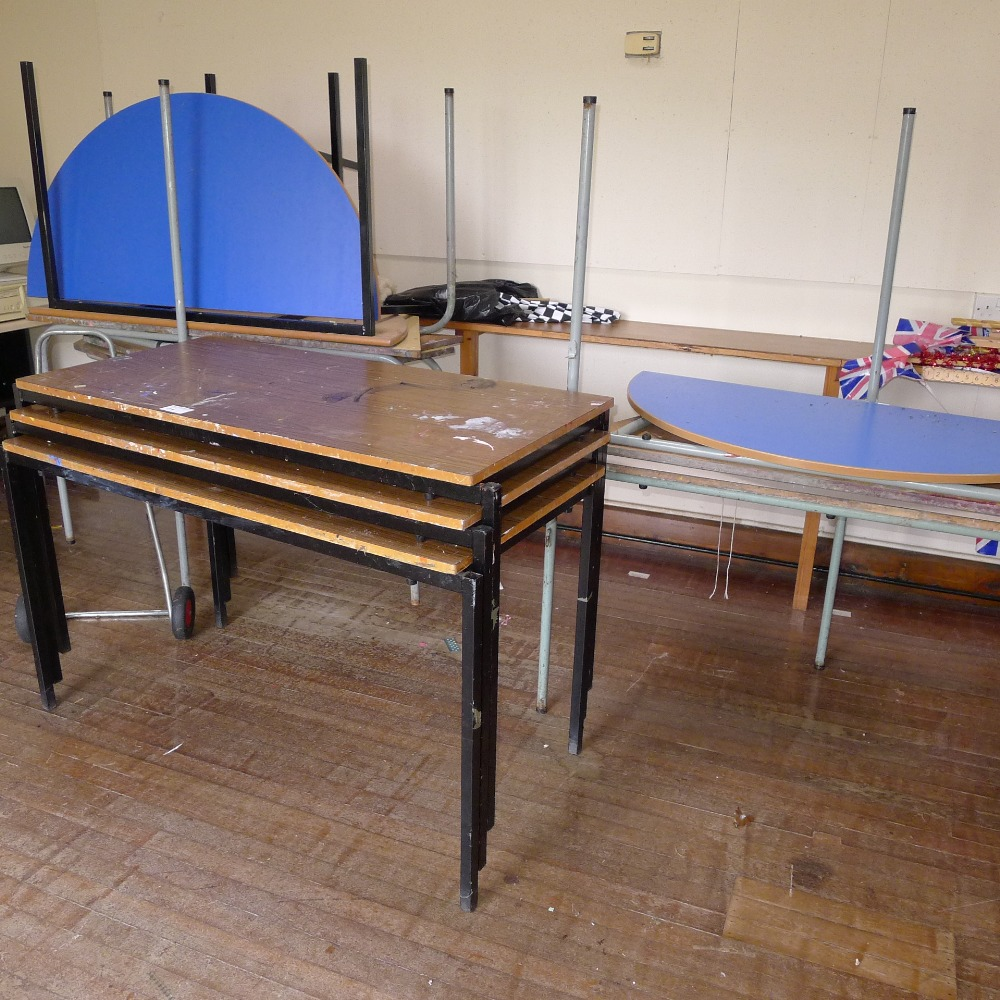 Lot 41 - 6 sections of wooden staging and a qty. of misc. tables etc. (located in nursery area)