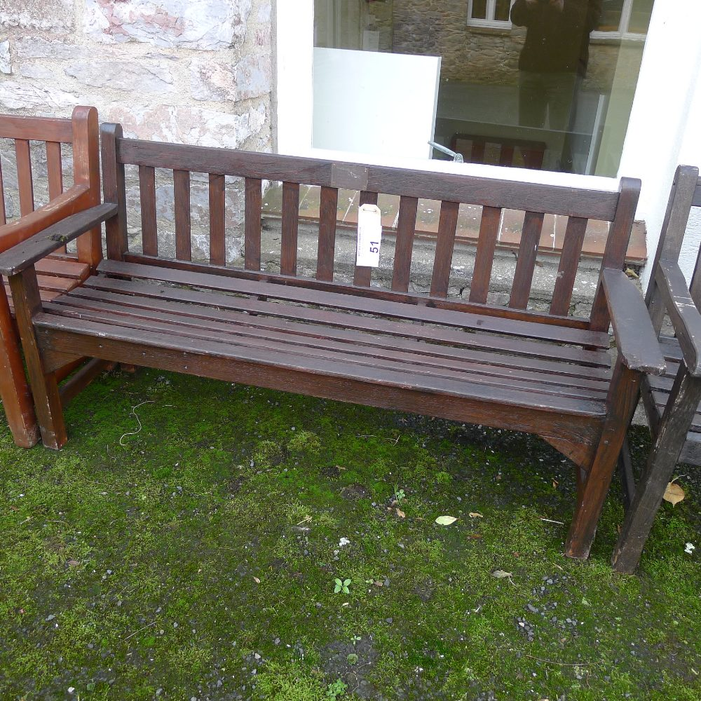 Lot 51 - 1 three seater timber garden bench (located outside junior school)