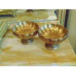 A pair of faux Empire style bowl on base  light wooden faux ornamental decorations 160mm x 100mm