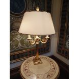 Table lamp twin candle neoclassical Italian design on square base decorated with 24ct. gold on
