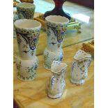 Fontaine tiled faïence vases x 4, inscribed Peint à la Main Geo Martel Décoration 240mm (x2)