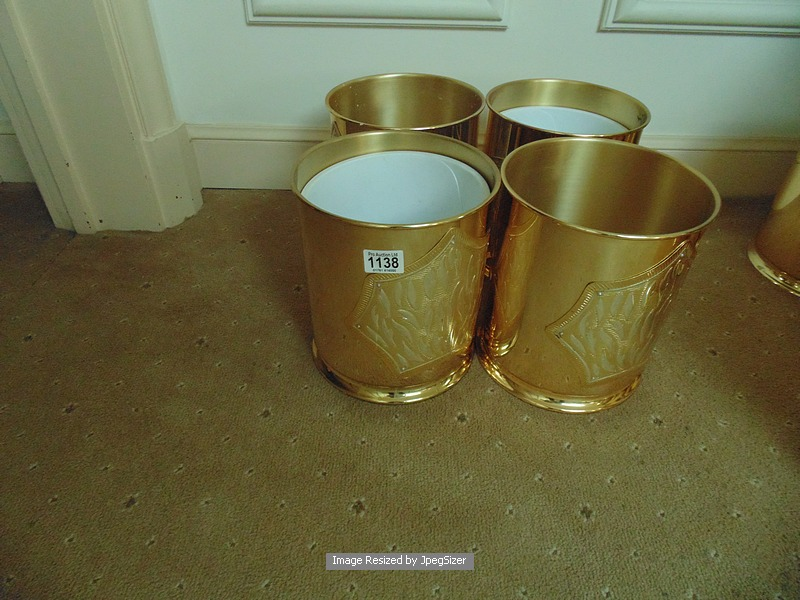 Lot 1138 - 4 x 24ct. gold plated waste paper bins