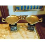 A pair of faux Empire style Tazza with handles on base  light wooden twin handled faux ornamental