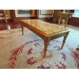 Neoclassical Italian painted and parcel gilt coffee table with marble top, apron decorated with