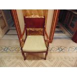 French Louis XVI Style armchairs straight shoulder boards with book match veneer, carved giltwood