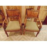 Pair of French Louis XVI Style armchairs straight shoulder boards with book match veneer, carved
