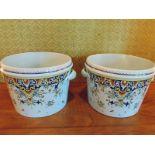 A pair of Fontaine tiled faïence handled pots inscribed Peint à la Main Geo Martel Décoration