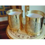 2 x 24ct. gold plated waste paper bins