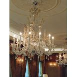 Taif Murano chandelier by Barovier & Toso 12 arm crystal chandelier, with gilded and chromed metal