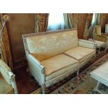 French Directoire Style Settee the rectilinear back has gilded foliage relief and the sides
