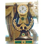 French style mounted lyre clock, ebonized hard wood with applied beaded borders and flowering
