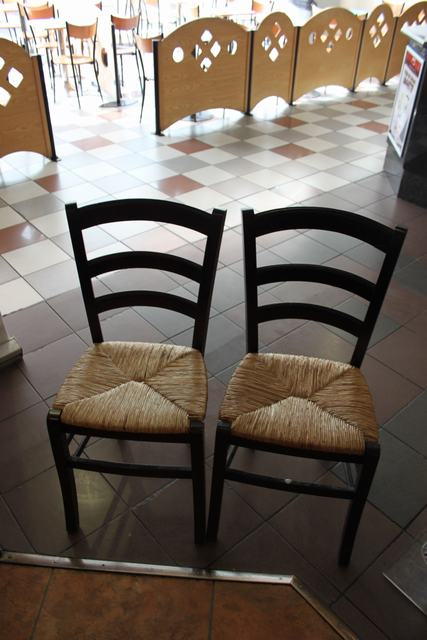 Lot 99 - 4 x Wooden frame high back chair with woven base 320mm pitch 880m high back