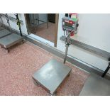 Ohaus platform scale, model T32XW, max 150 kg, min 0.02, on mobile stand LIFT OUT CHARGE £10
