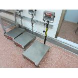 Ohaus platform scale, model T32XW, max 150 kg,min0.01kg, on mobile stand LIFT OUT CHARGE  £10