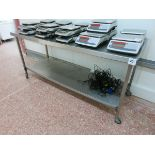 Stainless table, 1.8m x 700mm deep, mobile LIFT OUT CHARGE £20