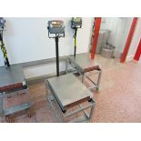Ohaus platform scale, model T31P, max 60 kg, min 0.4 kg, on mobile standLIFT OUT CHARGE  £10