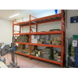 Sections  pallet racking, (3) 3.5 m x 900mm deep uprights, (16) 2.3 m cross beams with contents BTR