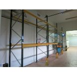 Sections  pallet racking, (6) 3.9 m x 1.1 m deep uprights, (16) 2.3 m cross beams