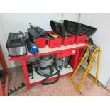 Work bench, with loaded tool boxes, crawler, conduit bender LIFT OUT CHARGE £10