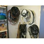 [Lot] Hose  belts and tubing, mounted on wall LIFT OUT £5