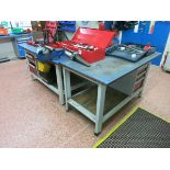 Work  benches , 1.5 m x 750mm deep, with (2) vises LIFT OUT CHARGE £20