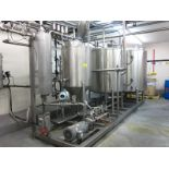 CIP System, (3) SS tanks mounted on SS skid, with additive assembly & Baldor Standard E drive,