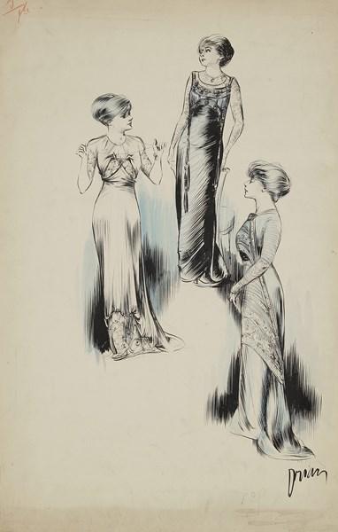 Lot 345 - Étienne Adrien DRIAN (1885-1961) Trois élégantes Dessin à l'encre, aquarelle et crayon bleu. Signé