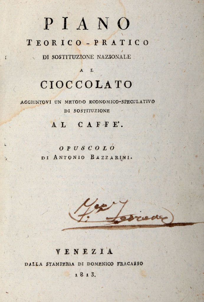 Bazzarini AntonioPiano teorico-pratico di sostituzione nazionale al cioccolato aggiuntovi un metodo