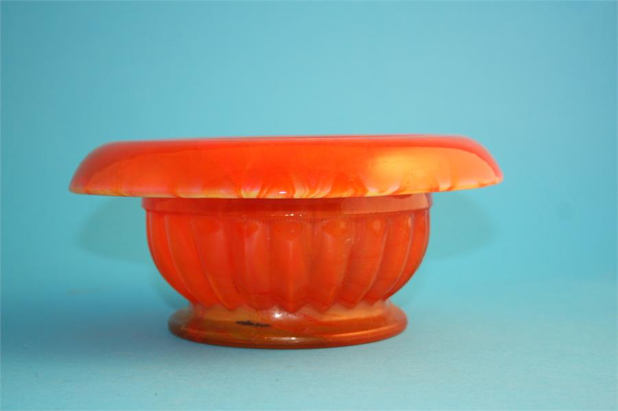 Lot 43 - A rare 1930's Davidsons orange coloured cloud glass bowl.  21 cm diameter.
