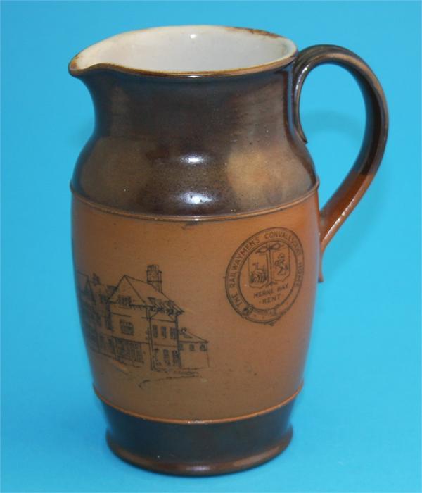 "Lot 21 - A Royal Doulton stoneware jug ""The Railway Men's Convalescent Home, Herne Bay, Kent"", impressed"