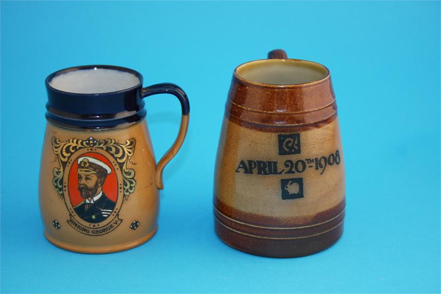 "Lot 22 - A Royal Doulton stoneware tankard ""King George VI and HM Queen Mary"" impressed marks, number 7457;"